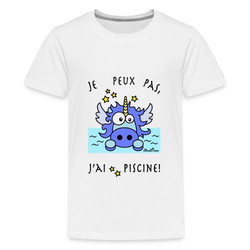 T-shirt P Ado Licorne Bleu, Je peux pas, j'ai piscine! - T-shirt Premium Ado
