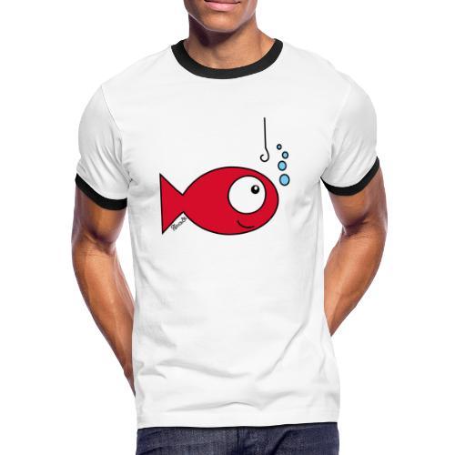 T-shirt contraste Homme, Poisson rouge - T-shirt contrasté Homme
