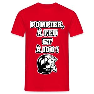 POMPIER, À FEU ET À 100 ! - JEUX DE MOTS - FRANCOIS VILLE - T-shirt Homme