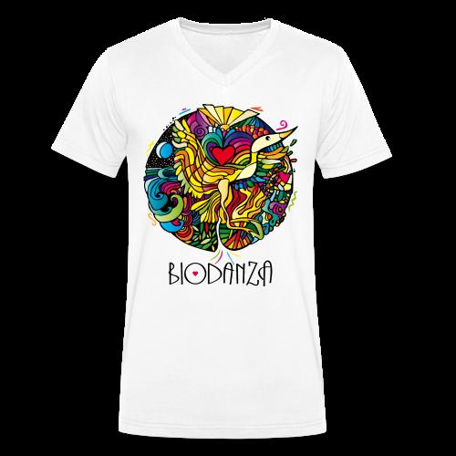 Biodanza Mandala V-Neck Men White - Männer Bio-T-Shirt mit V-Ausschnitt von Stanley & Stella