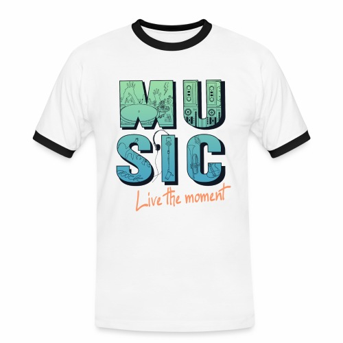 Music - live the moment - Männer Kontrast-T-Shirt