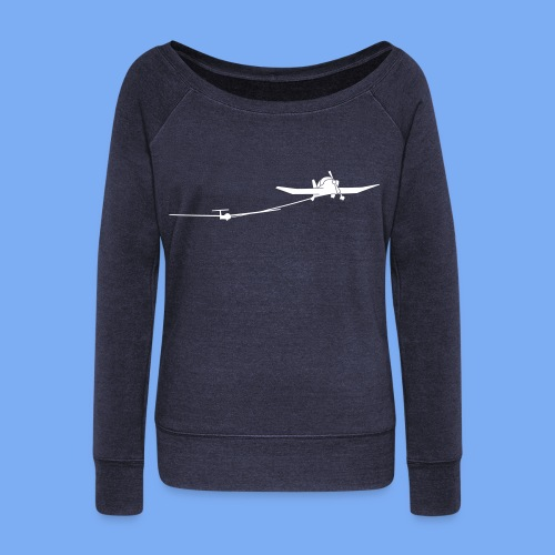 towing a glider - Women's Boat Neck Long Sleeve Top