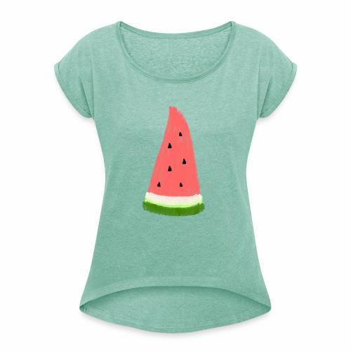Melon T-Shirt  - Frauen T-Shirt mit gerollten Ärmeln