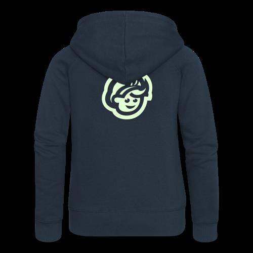 female JACKET w/ ZIP – Glowing in Dark – FRONT & BACK PRINT - Women's Premium Hooded Jacket
