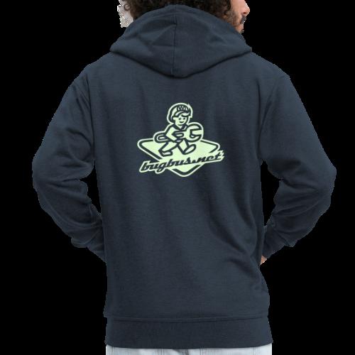 male  JACKET w/ ZIP – Glowing in Dark – FRONT & BACK PRINT - Men's Premium Hooded Jacket