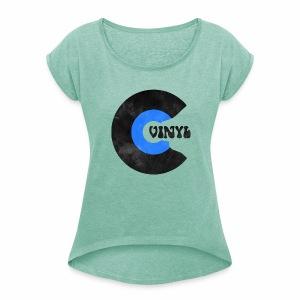 Vinyl Schallplatte Retro  - Frauen T-Shirt mit gerollten Ärmeln