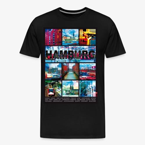 Hamburg Collage Hafen City Andenken T-Shirt - Männer Premium T-Shirt