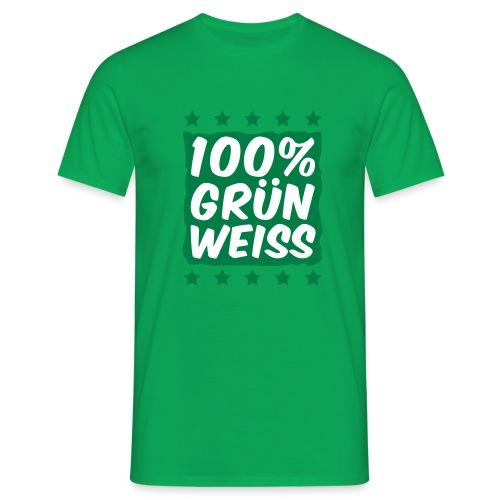 100% Grün Weiß - Männer T-Shirt