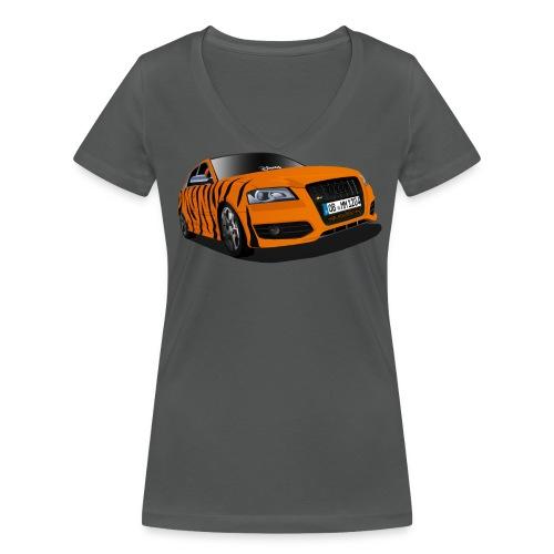 Michele Tiger T-Shirt mit V Ausschnitt + großes Logo - Frauen Bio-T-Shirt mit V-Ausschnitt von Stanley & Stella