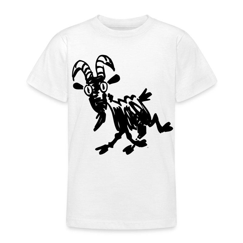 Maglietta con nero cartone animato di capra da allegro