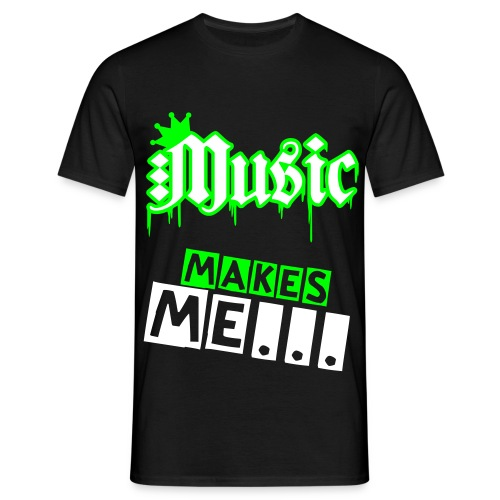 Males White Music Makes Me Tee - Men's T-Shirt