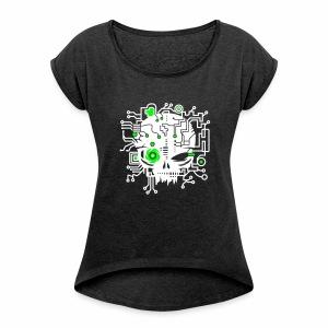 Digital Skull V2 - T-Shirt - Frauen T-Shirt mit gerollten Ärmeln