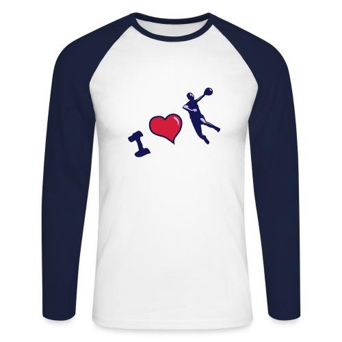 handball T shirt contrasté motif noir - T-shirt baseball manches longues Homme