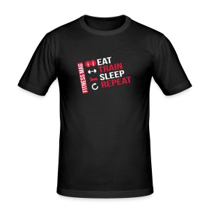 Tee shirt moulant Eat-Train-Sleep-Repeat Fitness Mag 100% coton - Tee shirt près du corps Homme
