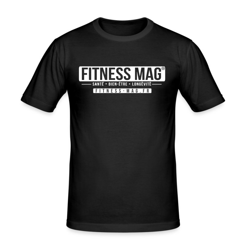 Tee shirt moulant Fitness Mag Official black 100% coton - Tee shirt près du corps Homme