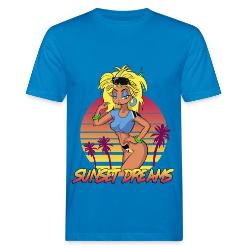 Sunset Dreams Pinup Blue - Miesten luonnonmukainen t-paita