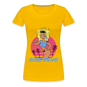 Sunset Dreams Pinup Yellow - Naisten premium t-paita