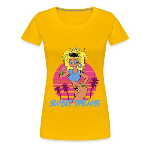 Sunset Dreams Pinup Yellow - Naisten premium t-paita