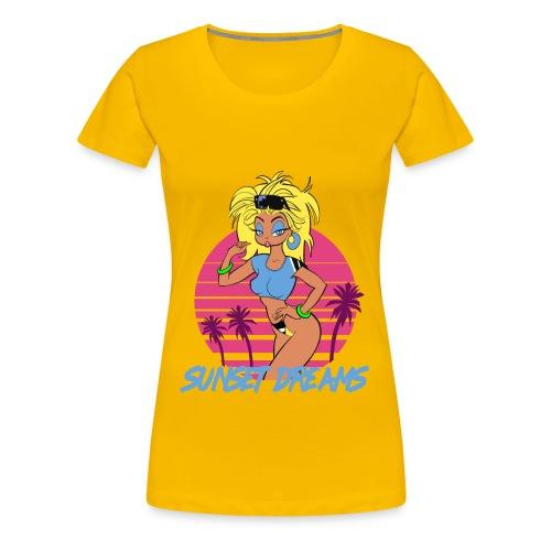 Sunset Dreams Pinup Yellow - Women's Premium T-Shirt