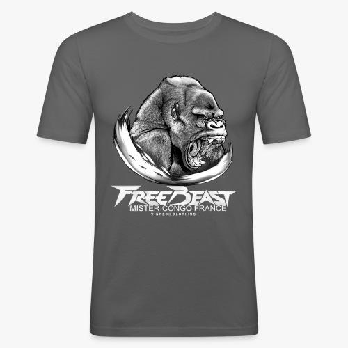 VINRECH CLOTHING - FREE BEAST - GORILLA SILVER - MISTER CONGO FRANCE - T-shirt Homme - T-shirt près du corps Homme