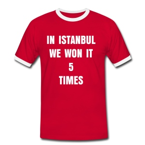 In Istanbul we won it 5 times with dates on sleeve and 5 on back - Men's Ringer Shirt