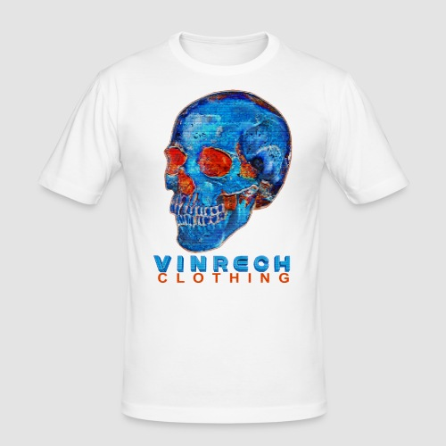 VINRECH CLOTHING - SKULL - PIX'SKULL Bleu & Orange - T-shirt Homme - T-shirt près du corps Homme