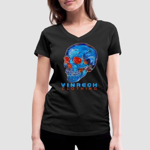 VINRECH CLOTHING - SKULL - PIX'SKULL Bleu & Orange - T-shirt Femme - T-shirt bio col V Stanley & Stella Femme