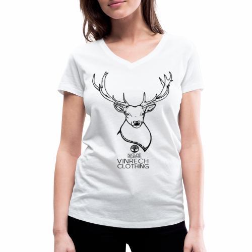 VINRECH CLOTHING - NATURE - Cerf Noir - T-shirt femme - T-shirt bio col V Stanley & Stella Femme