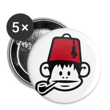 White monkey fez ape primat affe pipe smoker Buttons