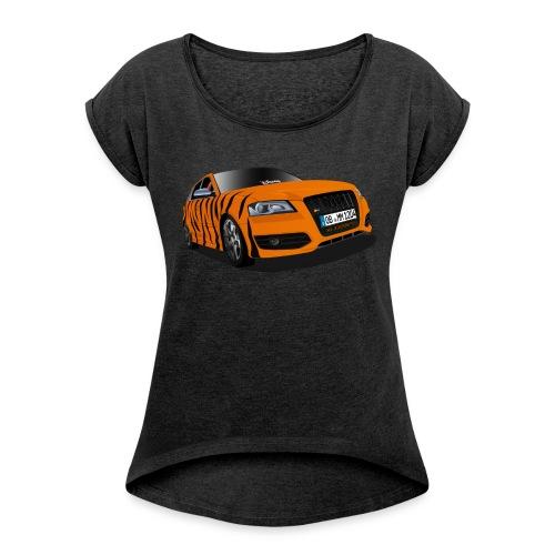 Michele Tiger girly Shirt + großes Logo - Frauen T-Shirt mit gerollten Ärmeln