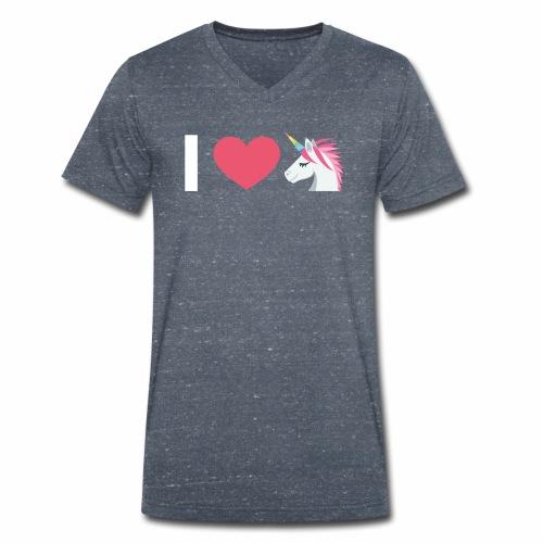 I Love Unicorn - Männer Bio-T-Shirt mit V-Ausschnitt von Stanley & Stella