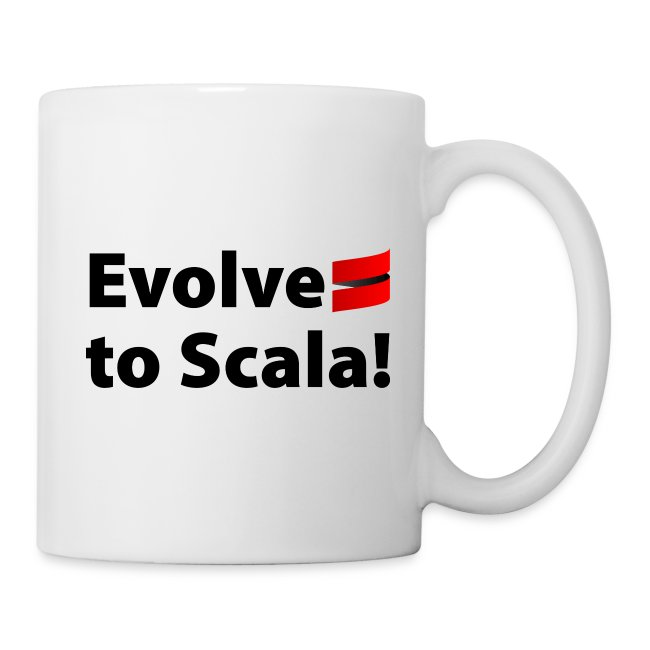 White Mug with Evolve to Scala Motto