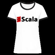 T-Shirts ~ Women's Ringer T-Shirt ~ Women's Petite Contrast Tee with Black Logo