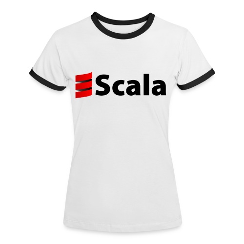 Women's Petite Contrast Tee with Black Logo - Women's Ringer T-Shirt