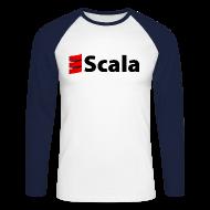 Long sleeve shirts ~ Men's Long Sleeve Baseball T-Shirt ~ Men's Baseball Tee with Black Scala Logo