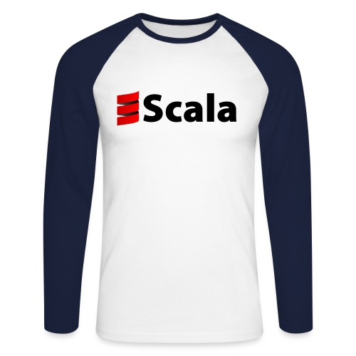 Men's Baseball Tee with Black Scala Logo - Men's Long Sleeve Baseball T-Shirt