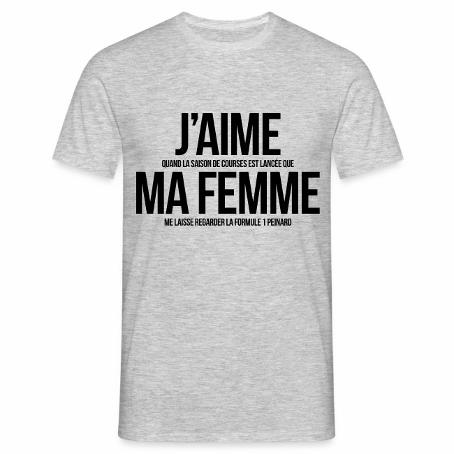 VersionT Homme Ma Femmef1 Shirt J'aime bfygIvY76