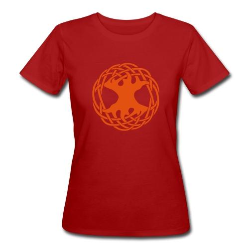 Weltenbaum rot - Frauen Bio-T-Shirt