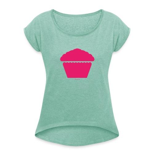 New Girl - Pink Cupcake - Frauen T-Shirt mit gerollten Ärmeln