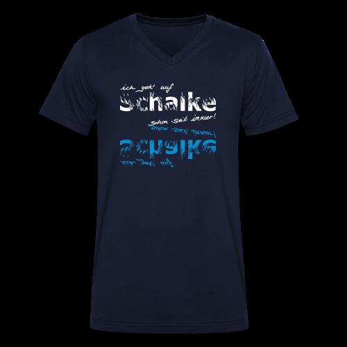 Männer T-Shirt mit V-Ausschnitt Ich geh' auf Schalke - navi - Männer Bio-T-Shirt mit V-Ausschnitt von Stanley & Stella