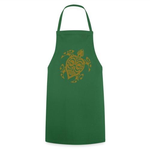 Tablier de cuisine - Tablier vert bouteille de cuisine - motif graphique tortue dorée - idée cadeau noël