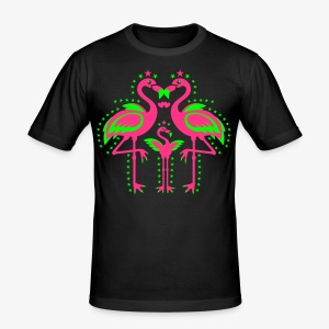 Flamingos Familie mit Kind Family Team T-Shirt - Männer Slim Fit T-Shirt