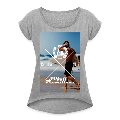 AWG X ZUfall Promillenz Shirt Surfer - Frauen T-Shirt mit gerollten Ärmeln
