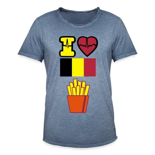I love Belgian fries - Mannen Vintage T-shirt