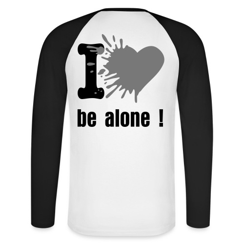 Shirt manches longues bicolor I love be alone noir/blanc - T-shirt baseball manches longues Homme