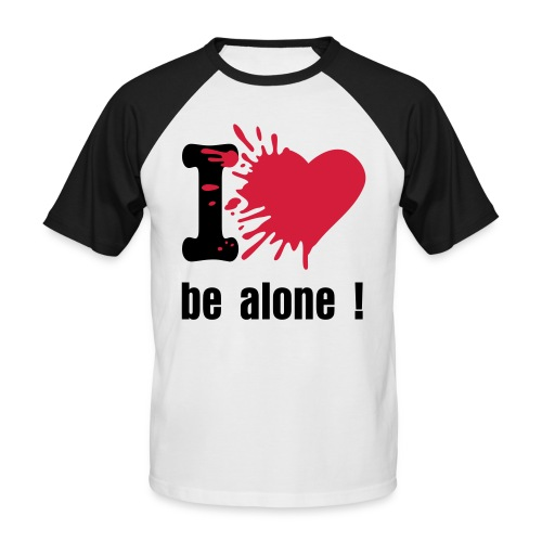 T-shirt bicolor I love be alone noir/blanc - T-shirt baseball manches courtes Homme