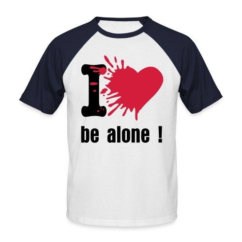 T-shirt bicolor I love be alone rouge/blanc - T-shirt baseball manches courtes Homme