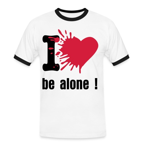 T-shirt bicolor I love be alone marine/blanc - T-shirt contrasté Homme