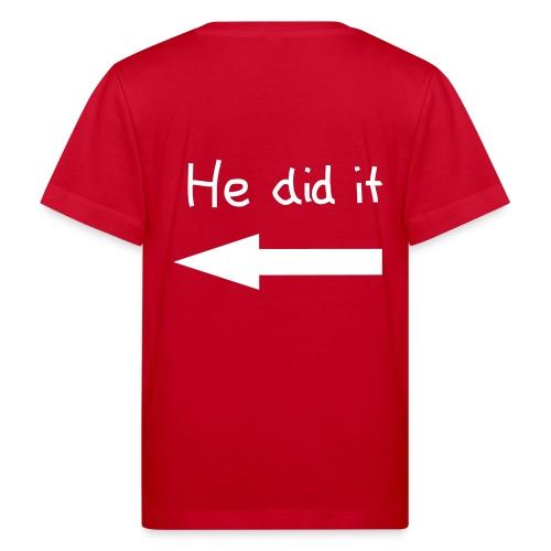 Ikke min skyld - rød - Økologisk T-skjorte for barn