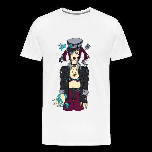 Fille manga tirant la langue avec un serpent dans la main - T-shirt Premium Homme